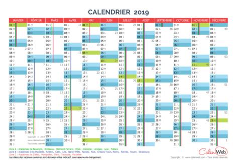 Calendrier annuel – Année 2019 avec jours fériés et vacances scolaires
