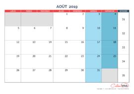 Calendrier mensuel – Mois d'août 2019