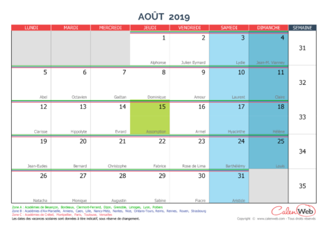 Calendrier Mensuel Mois D Aout 2019 Avec Fetes Jours