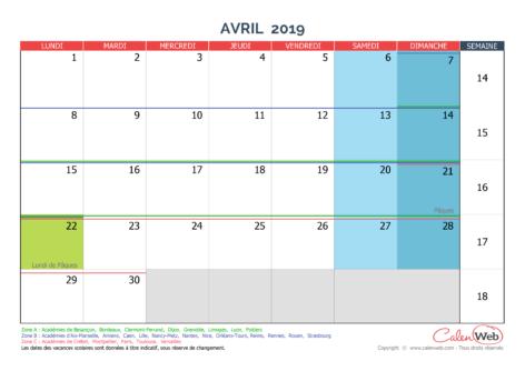 Calendrier mensuel – Mois d'avril 2019 Avec jours fériés et vacances scolaires