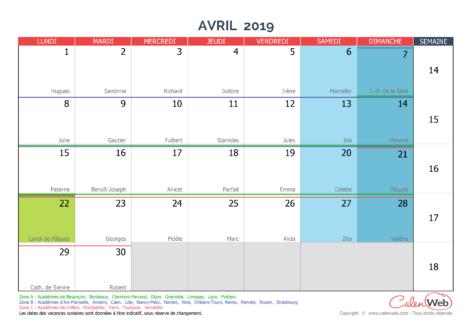 Calendrier mensuel – Mois d'avril 2019 Avec fêtes, jours fériés et vacances scolaires