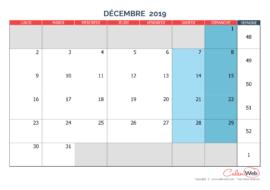 Calendrier mensuel – Mois de décembre 2019