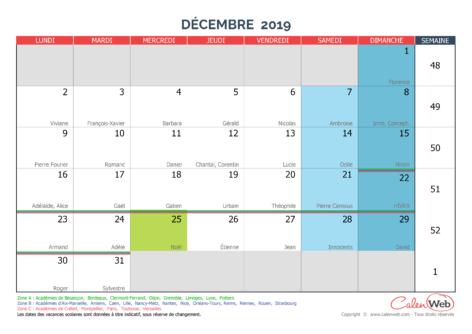 Calendrier mensuel – Mois de décembre 2019 Avec fêtes, jours fériés et vacances scolaires