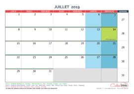 Calendrier mensuel – Mois de juillet 2019