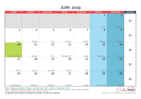Calendrier mensuel – Mois de juin 2019 Avec fêtes, jours fériés et vacances scolaires