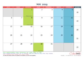 Calendrier mensuel – Mois de mai 2019