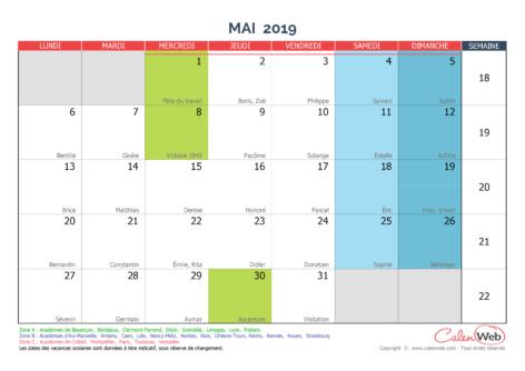 Calendrier mensuel – Mois de mai 2019 Avec fêtes, jours fériés et vacances scolaires