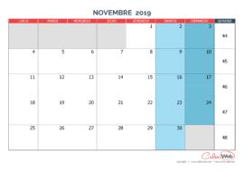 Calendrier mensuel – Mois de novembre 2019