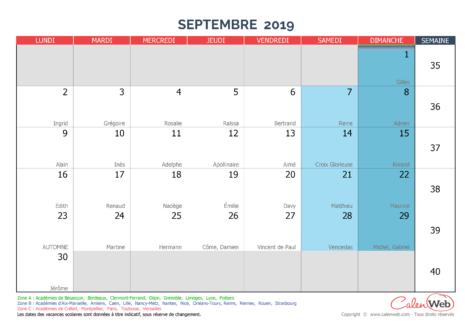 Calendrier mensuel – Mois de septembre 2019 Avec fêtes, jours fériés et vacances scolaires