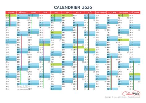Calendrier annuel – Année 2020