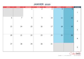 Calendrier mensuel – Mois de janvier 2020