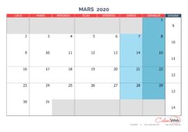Calendrier mensuel – Mois de mars 2020