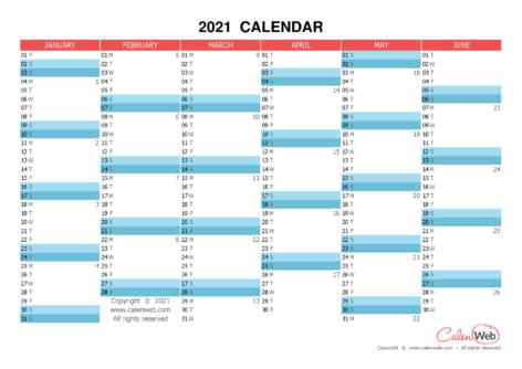 Semiannual calendar – Year 2021 Semiannual horizontal planning