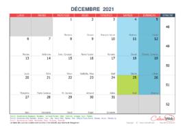Calendrier mensuel – Mois de décembre 2021