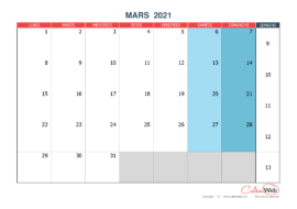 Calendrier mensuel – Mois de mars 2021