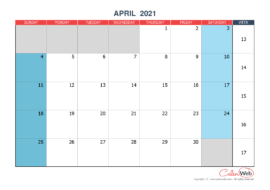 Monthly calendar – Month of April 2021