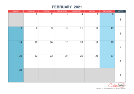 Monthly calendar – Month of February 2021