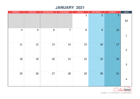 2021 monthly customizable calendar The week starts on Monday