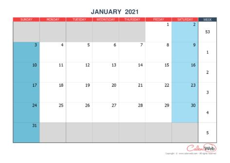 2021 monthly customizable calendar The week starts on Sunday