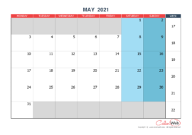 Monthly calendar – Month of May 2021