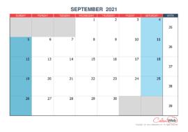 Monthly calendar – Month of September 2021