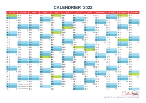 Calendrier annuel – Année 2022 avec jours fériés