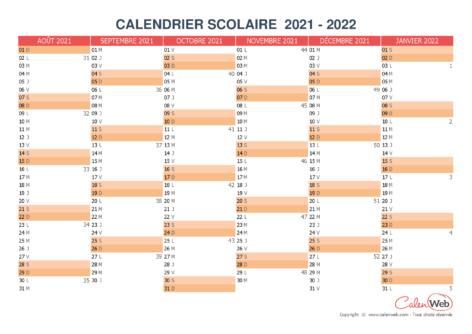 Calendrier scolaire semestriel 2021-2022 Version vierge
