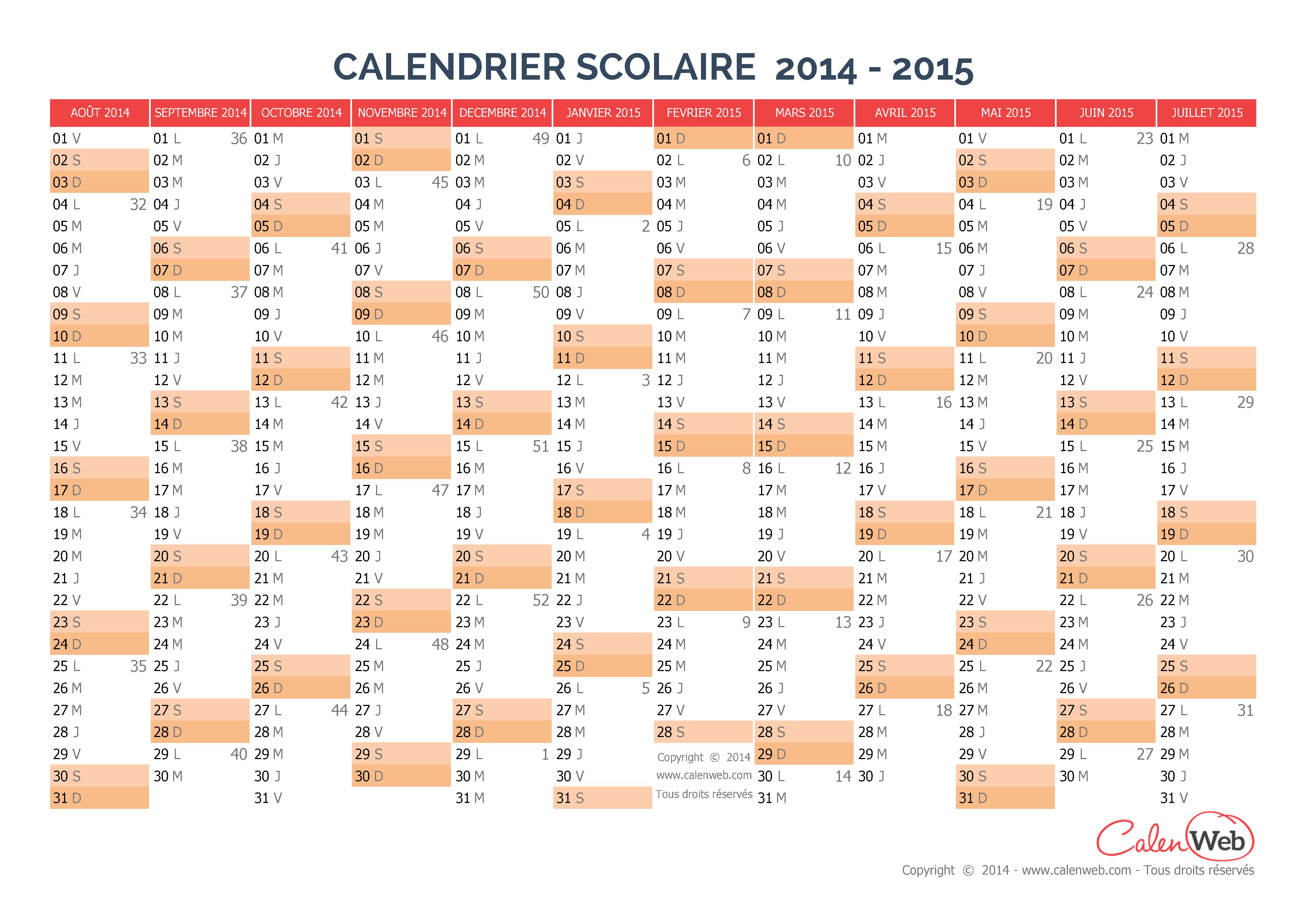 Calendrier scolaire 2014/2015