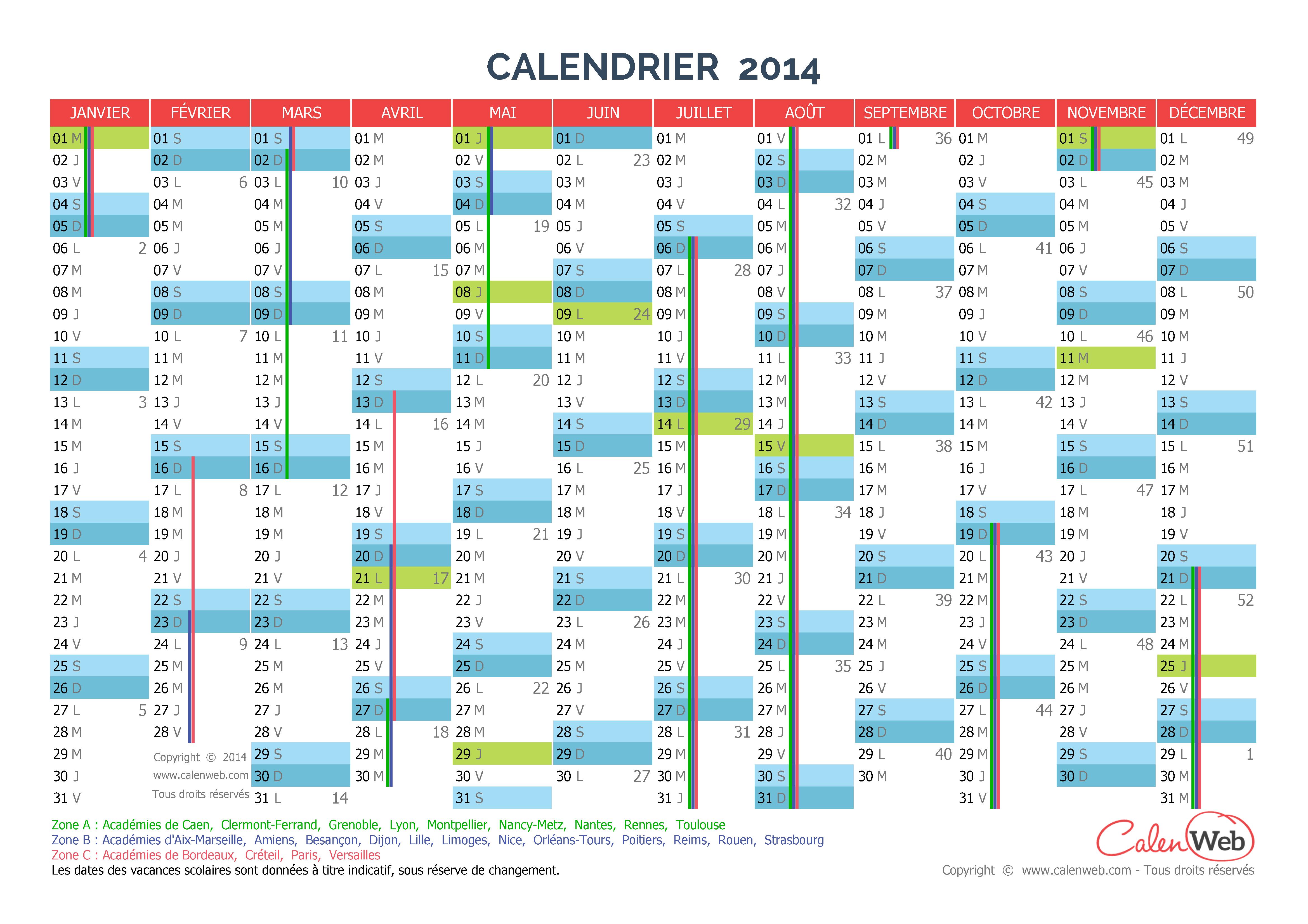Calendrier annuel 2014 avec les jours fériés et les vacances scolaires
