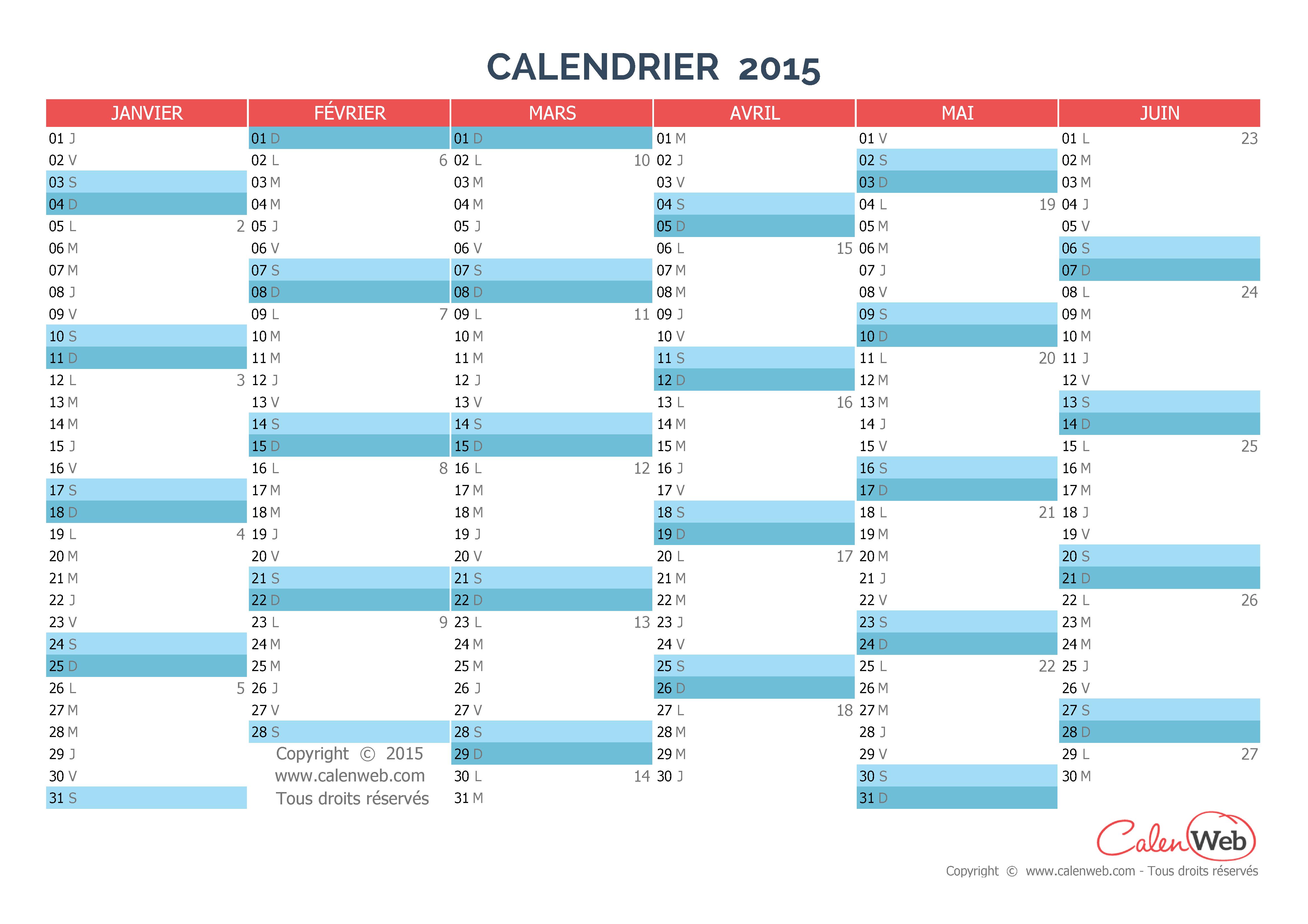 Calendrier semestriel 2015 gratuit imprimer pictures for Calendrier mural gratuit